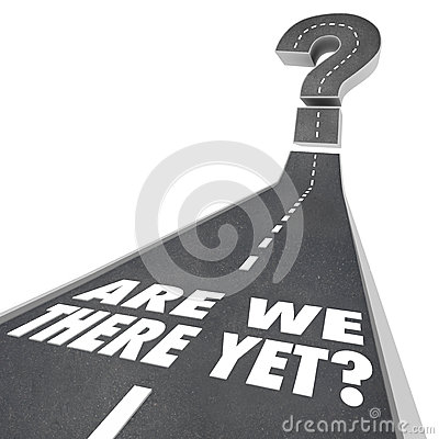 Free Are We There Yet Question Mark Road Words Waiting Impatient Stock Image - 40509941