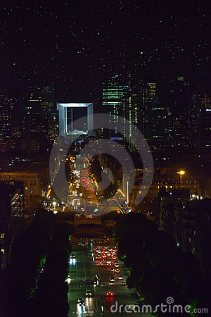 Area New Paris - la defense at night. A kind from Editorial Photography