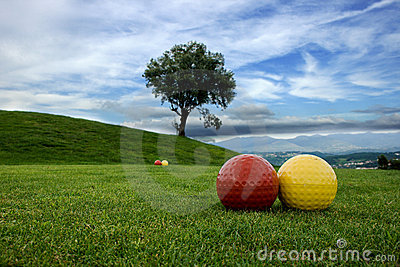 Area of play in the golf course with blue sky