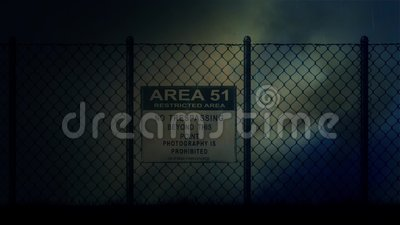 Area 51 Sign on a Metal Fence on a Stormy Night. Area 51 Sign on a Fence on a Stormy Night vector illustration