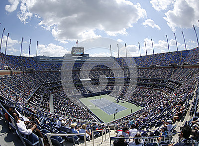 Areal view of  Arthur Ashe Stadium at the Billie Jean King National Tennis Center during US Open 2013 Editorial Photo