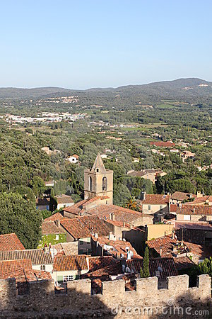 Areal view of Grimaud, France