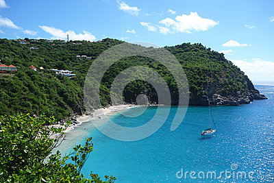 Areal view at Shell beach at St  Barts, French West Indies