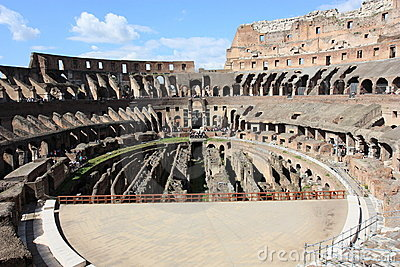 The arean of Colosseum in Rome