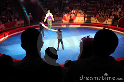 Arena in circus performance with acrobat