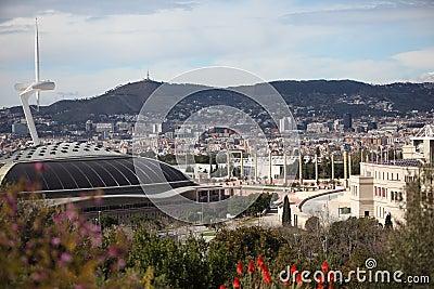 Arena, de Toren en het Stadion van Barcelona de Olympische Redactionele Stock Afbeelding