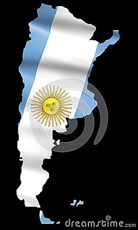 Argentina Flag on Map
