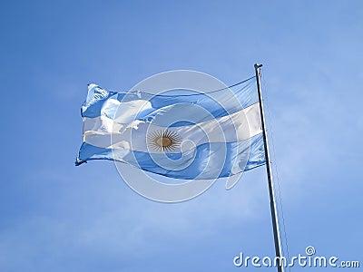 Argentina flag on a pole