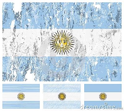 Argentina grunge flag set