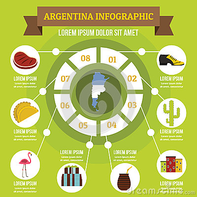 Free Argentina Infographic Concept, Flat Style Royalty Free Stock Image - 96358376