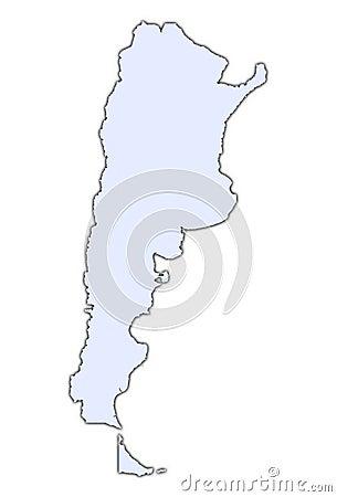 Argentina light blue map
