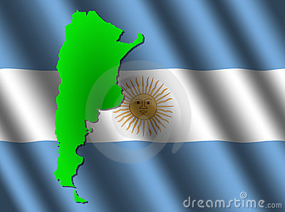 Argentina Map On Flag Stock Photos - Image: 7958073