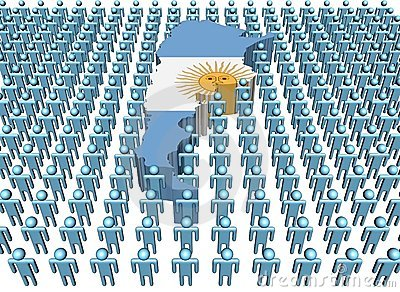 Argentina map flag with people
