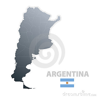 Argentina map with official flag