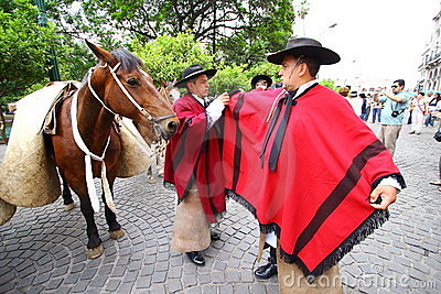 Argentina riders in red cape Editorial Stock Photo