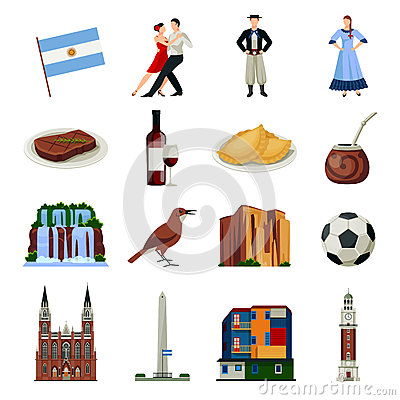 Free Argentina Symbols Flat Icons Collection Royalty Free Stock Images - 79524179