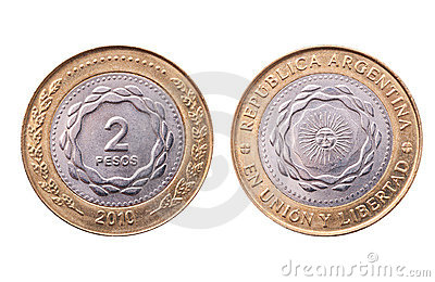 Argentina, two pesos coin, clipping path.