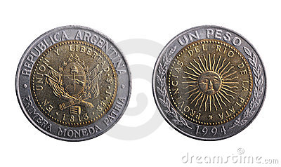 Argentinian peso coin, both sides.