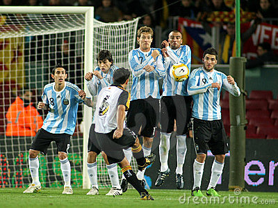 Argentinian players on the wall Editorial Photography