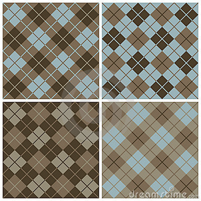 Argyle-Plaid Pattern in Blues and Browns
