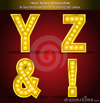 Arial Font in Gold Style With Shining LED Lamps