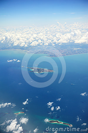 Arial view of island