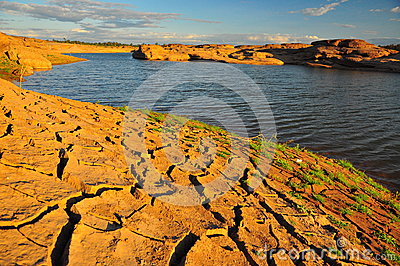 Arid land and lake