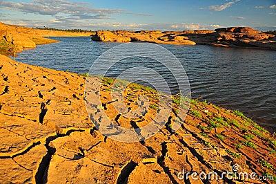 Arid land and lake