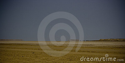 Arid landscape with mirage
