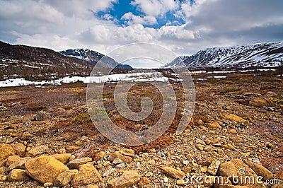Arid mountain region landscape.