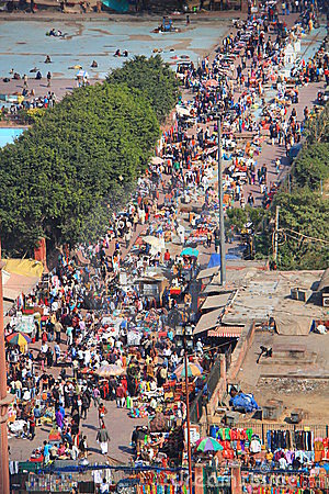 Ariel shot of crowd at local market next to Jama Editorial Photography