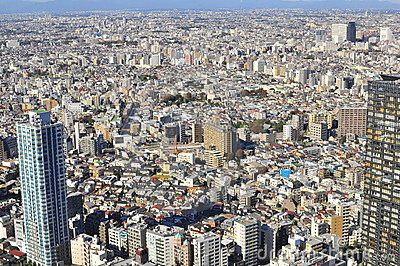 Ariel view of Tokyo city , Japan Editorial Stock Image