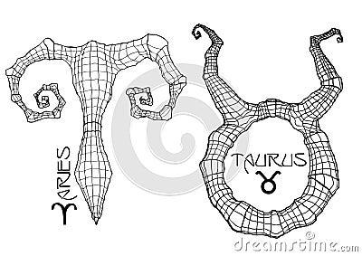 Aries and taurus zodiac symbols