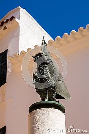 Free Aries With A Flag On A Column, Ciutatella De Menorca Center Stock Photography - 75594122