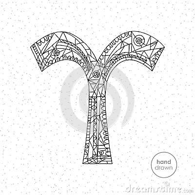 Aries zodiac sign. Vector hand drawn horoscope illustration. Astrological coloring page. Vector Illustration