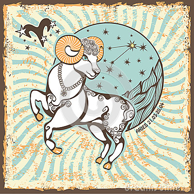 Free Aries Zodiac Sign.Vintage Horoscope Card Stock Photo - 40566090