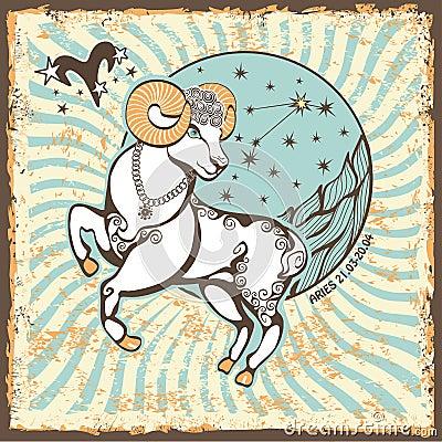 Free Aries Zodiac Sign.Vintage Horoscope Card Stock Photo - 40566090