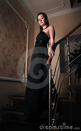 Free Aristocratic Lady On Stairs Stock Photography - 17185522