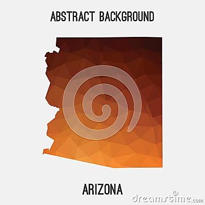 Arizona map in geometric polygonal,mosaic style. Cartoon Illustration