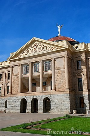 Arizona State Capital with pillars & copper dome
