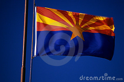 Arizona State Flag flying from flagpole