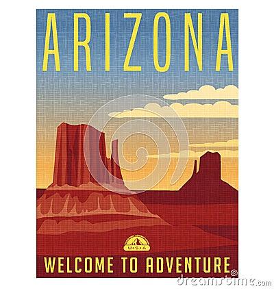 Free Arizona United States Retro Travel Poster Stock Photography - 82377452