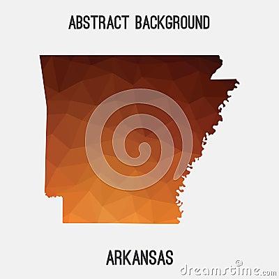 Arkansas map in geometric polygonal,mosaic style. Vector Illustration