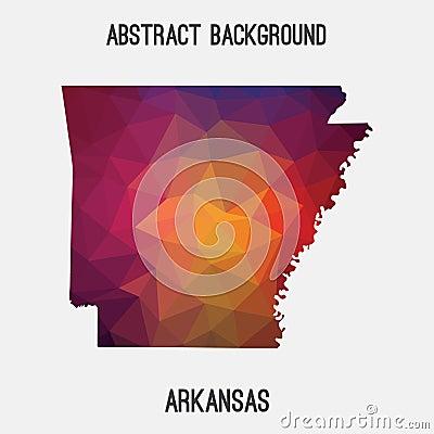 Arkansas map in geometric polygonal,mosaic style. Cartoon Illustration