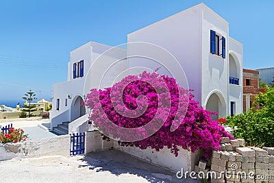 Arkitektur av den Fira townen på den Santorini ön
