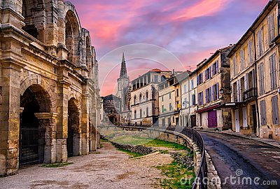 Arles Old Town and roman amphitheatre, Provence, France Stock Photo