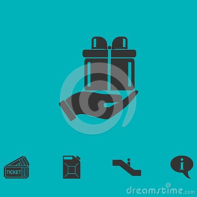 Arm of gift icon flat Vector Illustration