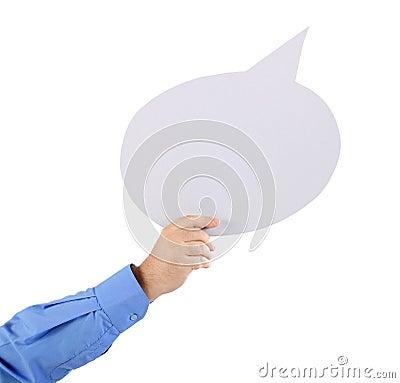 Arm holding a speech bubble