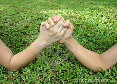 Arm Wrestle On The Grass