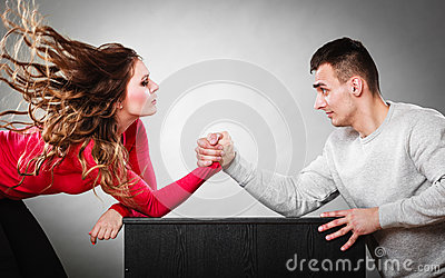 Arm Wrestling Challenge Between Young Couple Stock Photo - Image ...